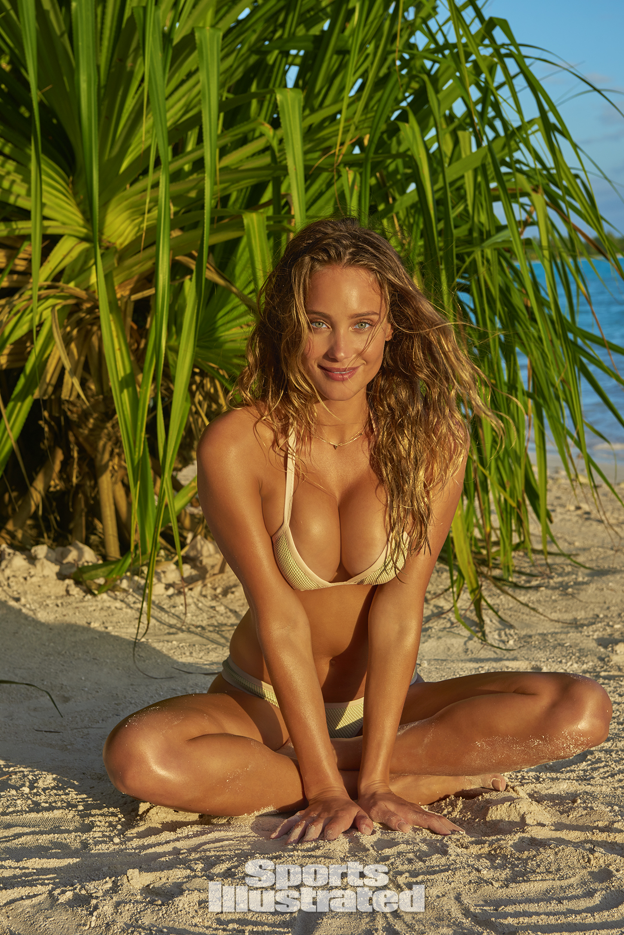 Hannah Davis was photographed by Yu Tsai in The Islands Of Tahiti. Swimsuit by Ola Vida.