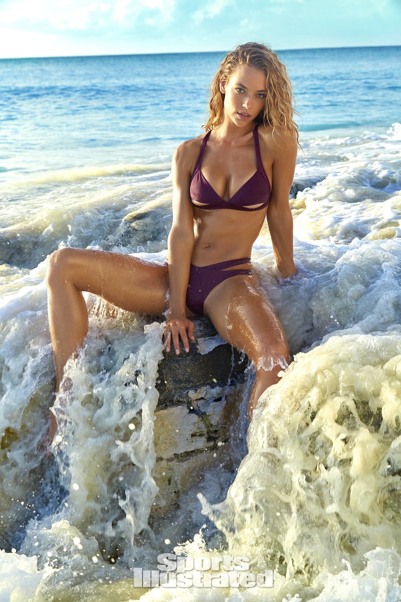 Hannah Ferguson was photographed by James Macari in Turks & Caicos. Swimsuit by Aquarella Swimwear.