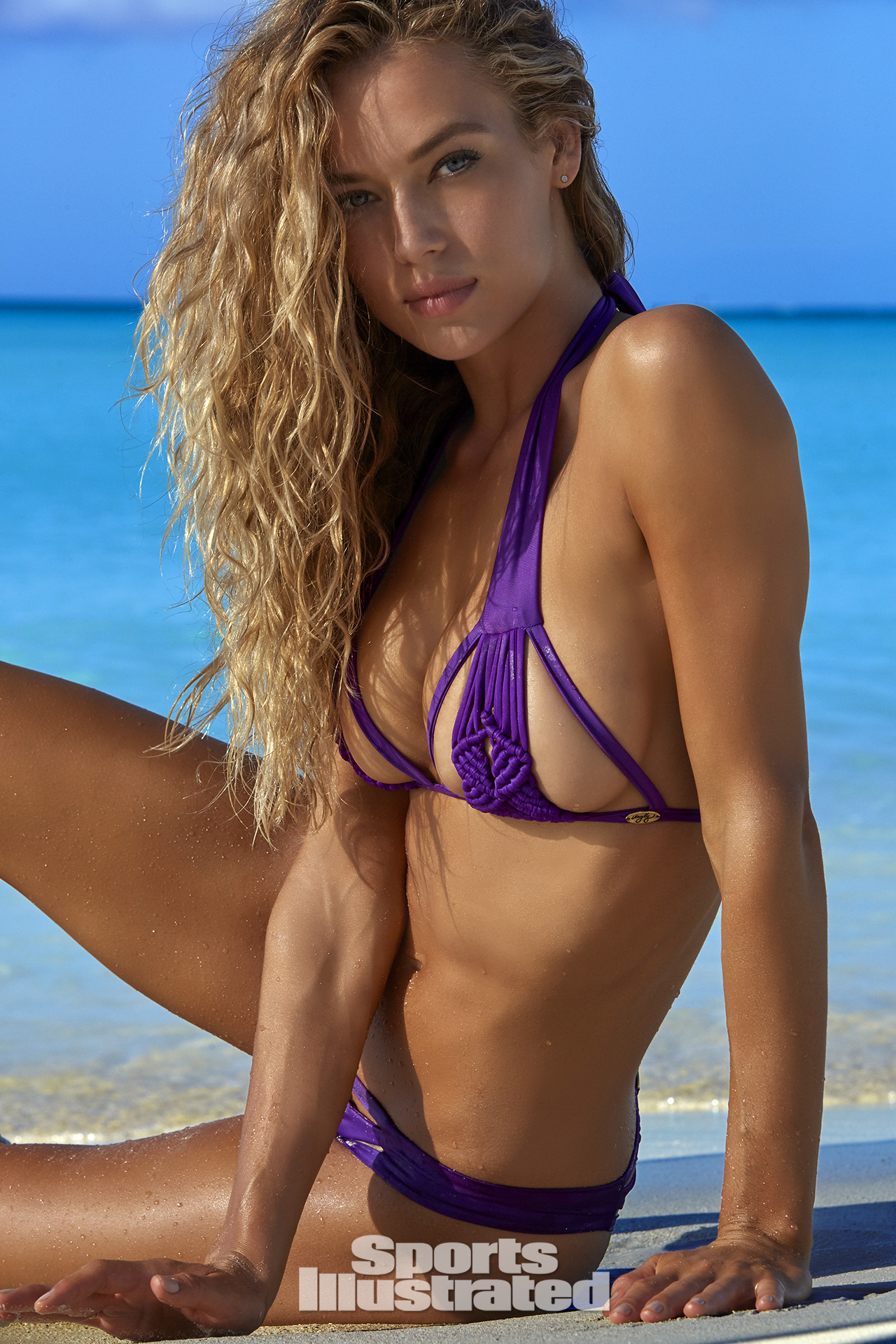 Hannah Ferguson was photographed by James Macari in Turks & Caicos. Swimsuit by Meg Liz Swimwear.
