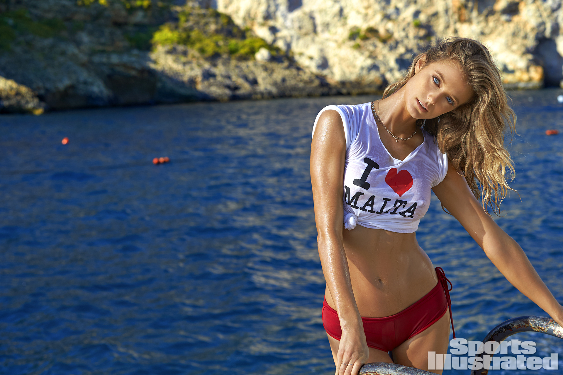 Kate Bock was photographed by Ben Watts in Malta. Swimsuit by MI OLA.