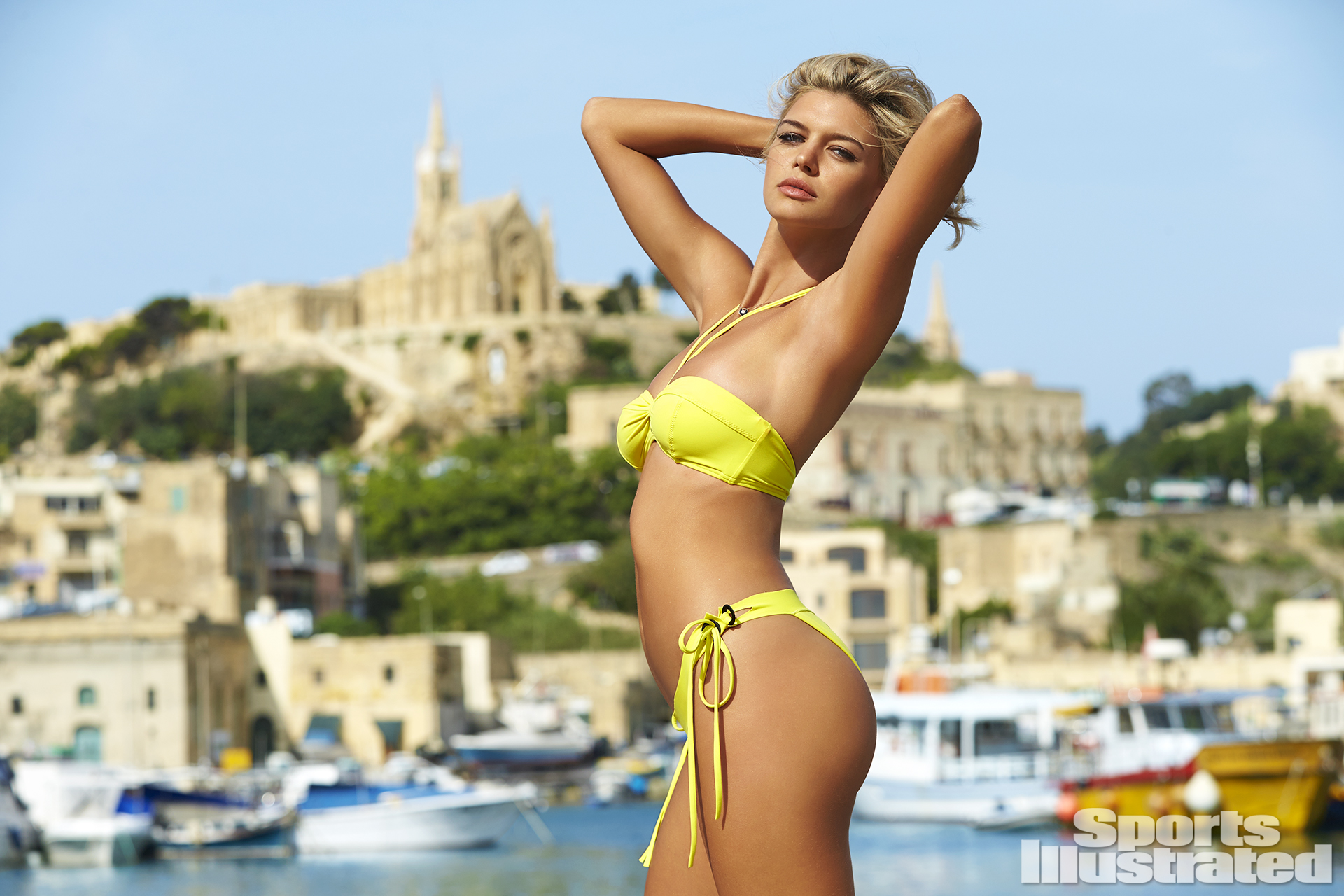 Kelly Rohrbach was photographed by Ben Watts in Malta. Swimsuit by Proenza Schouler.