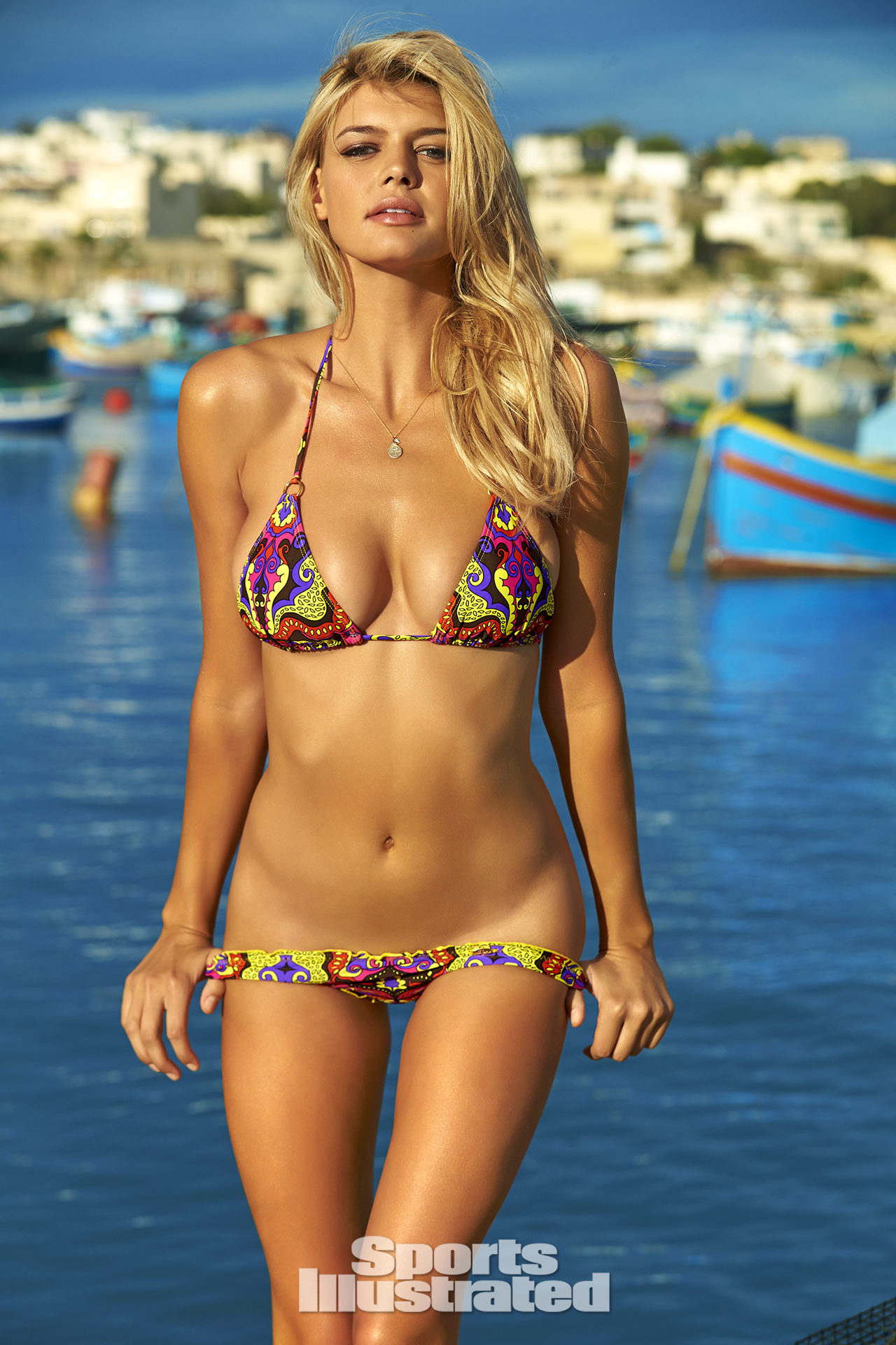 Kelly Rohrbach was photographed by Ben Watts in Malta. Swimsuit by Luli Fama Swimwear.