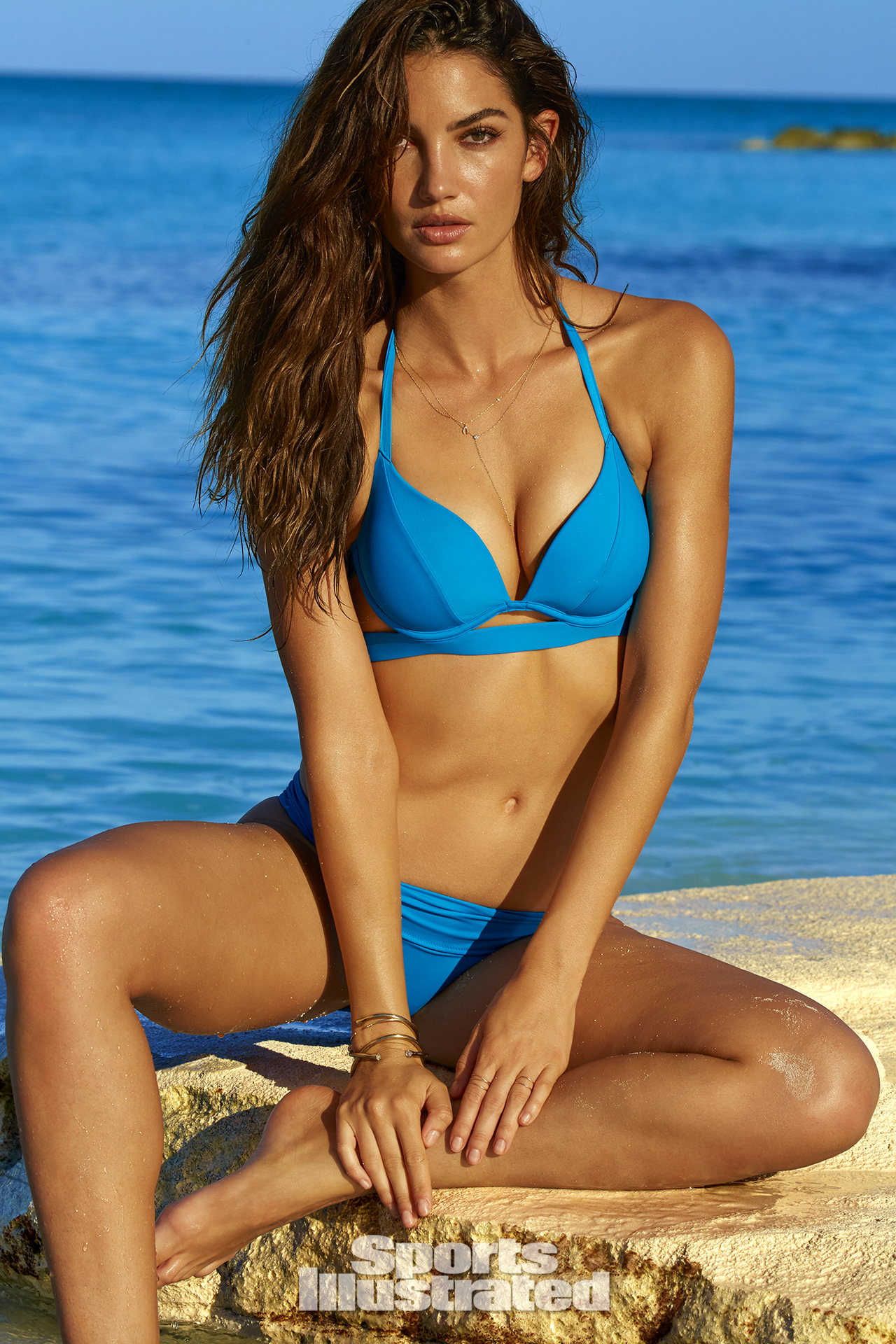 Lily Aldridge was photographed by James Macari in Turks & Caicos. Swimsuit by Victoria's Secret.