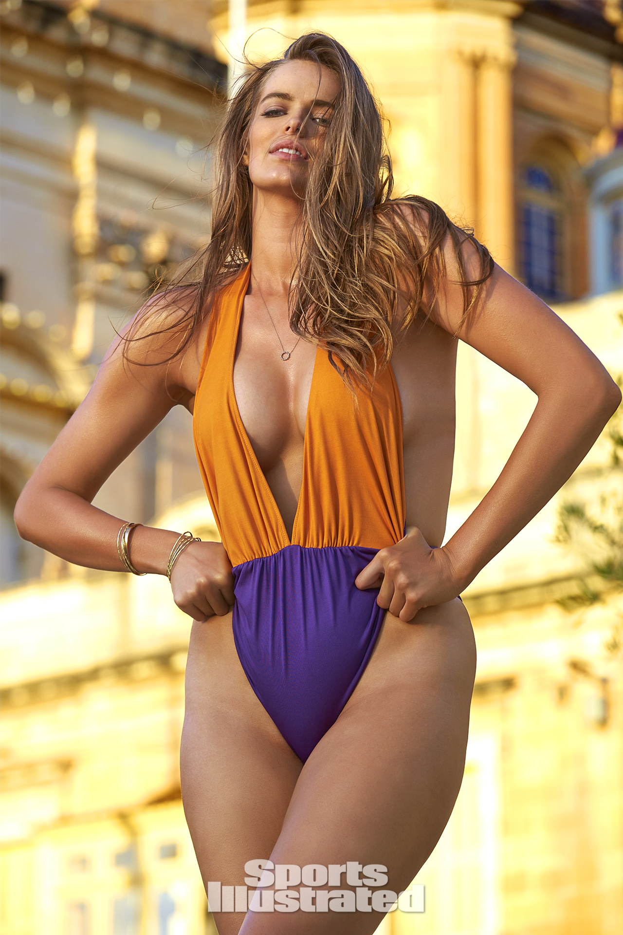 Robyn Lawley was photographed by Ben Watts in Malta. Swimsuit by Indie Soul.