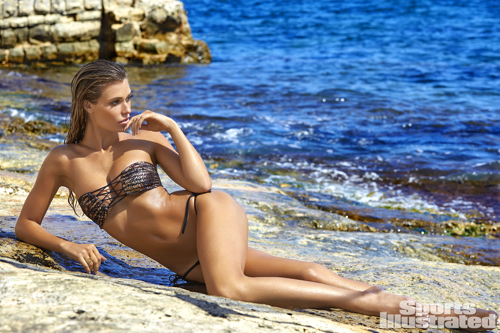 Samantha Hoopes was photographed by Ben Watts in Malta. Swimsuit by Elizabeth Southwood For Sauvage Swimwear.