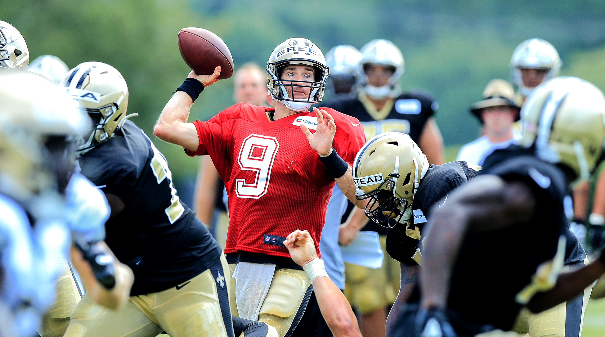 Drew Brees at New Orleans Saints training camp.