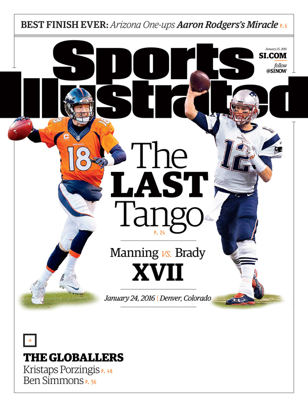 tom brady peyton manning sports illustrated cover afc championship game