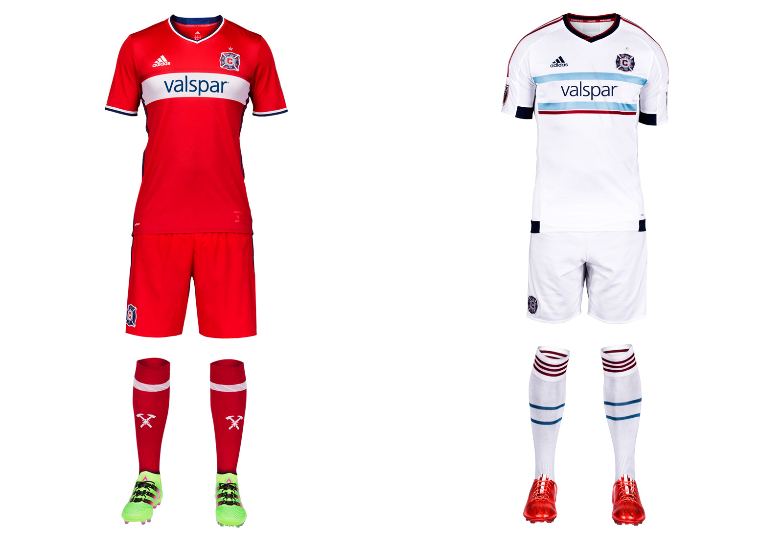 The optimism surrounding a new GM and head coach is accompanied by a welcome return to the red kit and single white hoop the Fire wore when winning trophies. Chicago was the first MLS team in mono-red and has dibs on a look that unfortunately became way too prevalent. The hoop on the new primary uniform is too thin, but otherwise it's a crisp design that should be well received by fans, some of whom protested the red-and-blue offering worn in 2014-15. The all-white away kit featuring hints of the city flag carries over from last year.