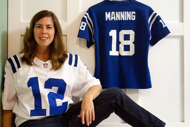 Colts fan Angie Six with her Andrew Luck and Peyton Manning jerseys.