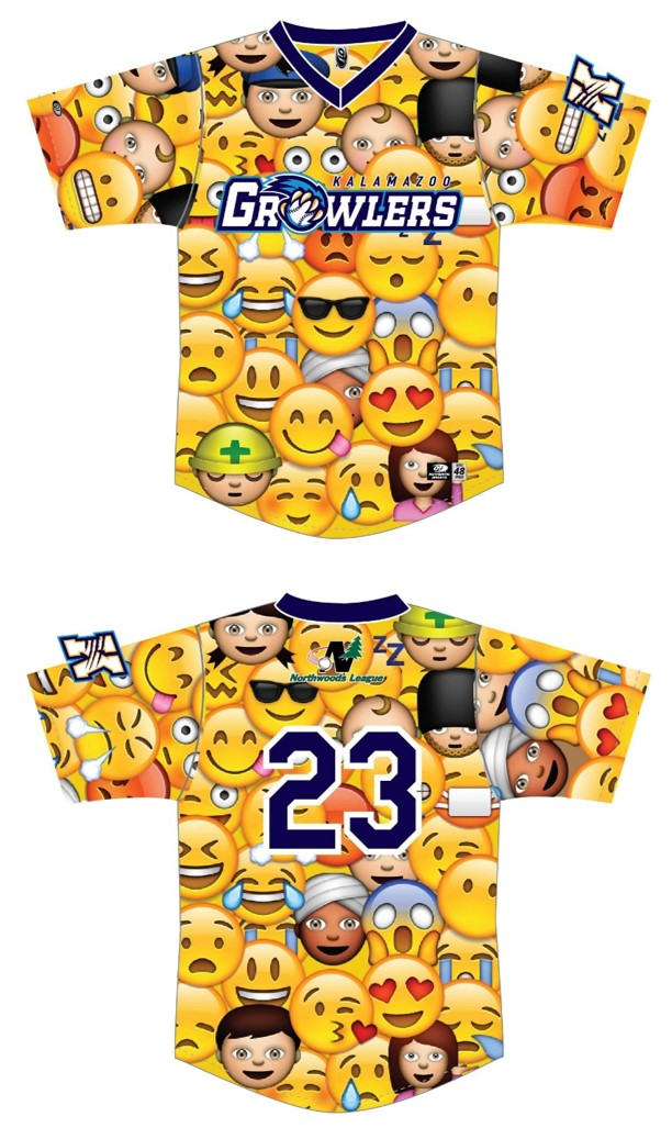 minor league baseball emoji jersey kalamazoo growlers