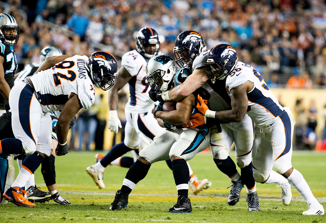 The Broncos bottled Carolina's ground game, holding Jonathan Stewart to a season-low 29 rushing yards.