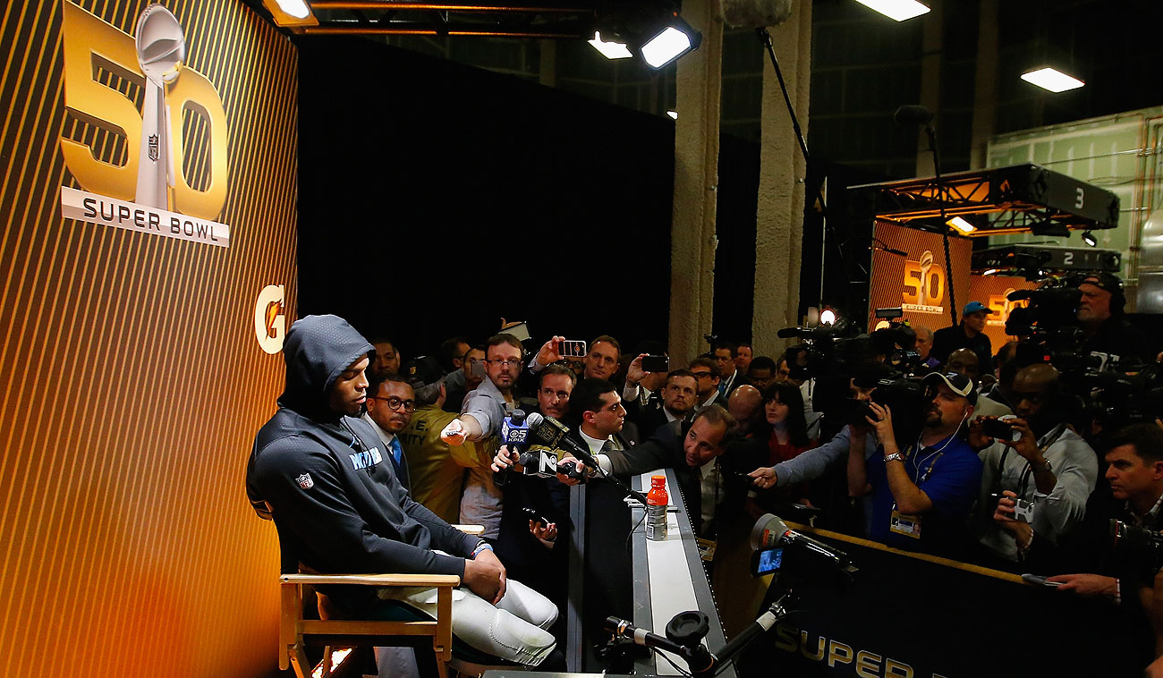 A dejected Cam Newton didn't answer many questions in his post-game press conference, eventually walking away.
