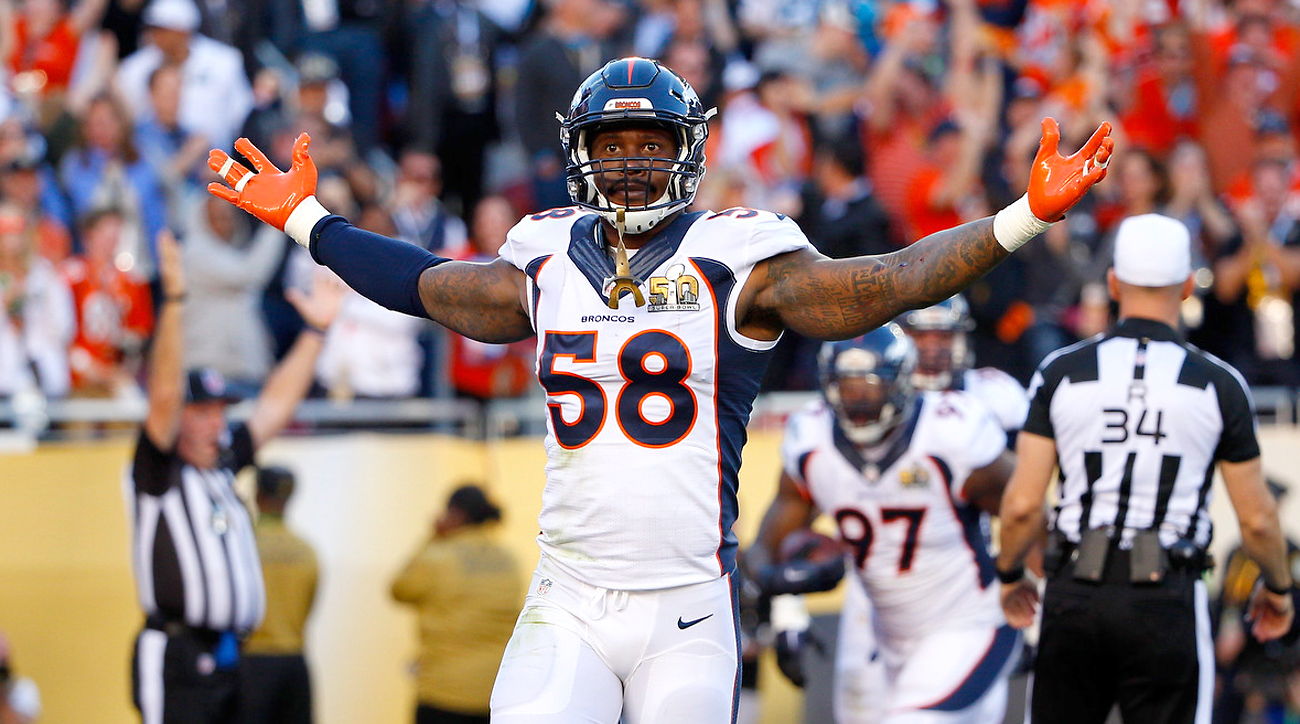 Broncos linebacker Von Miller celebrates after his forced fumble that resulted in a Denver touchdown in Super Bowl 50.