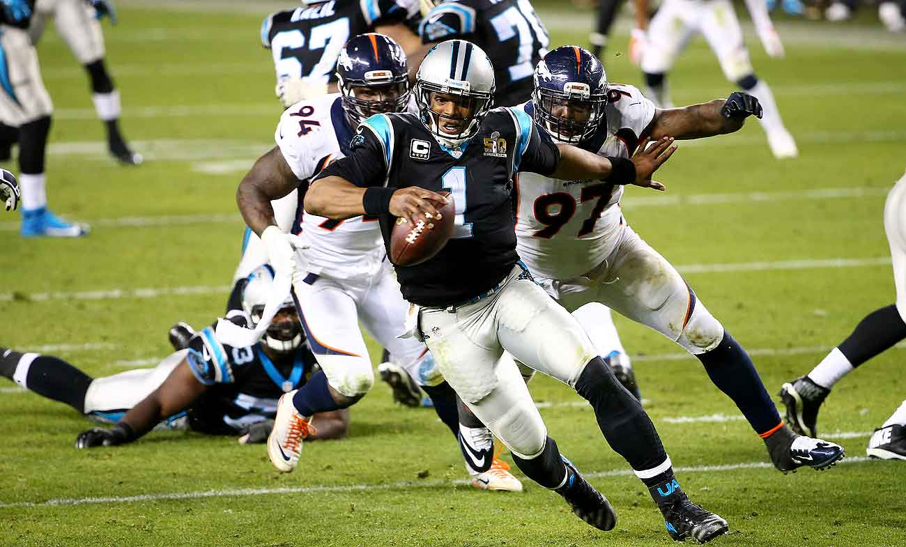 DeMarcus Ware (94), Malik Jackson and the Broncos defense made life miserable for Cam Newton in Super Bowl 50.