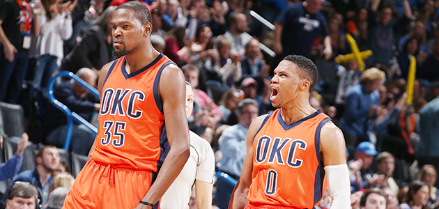 Oklahoma City Thunder Kevin Durant Russell Westbrook NBA midseason grades