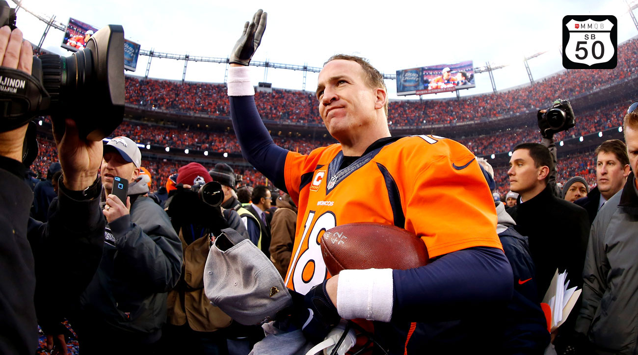 Peyton Manning celebrates after beating the Patriots in the AFC Championship Game.