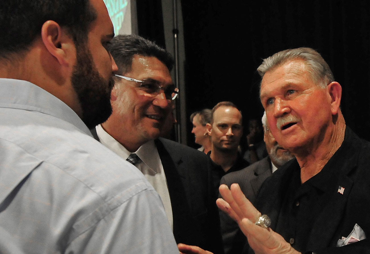 Ron Rivera, Mike Ditka and Ryan Kalil speak in 2014.