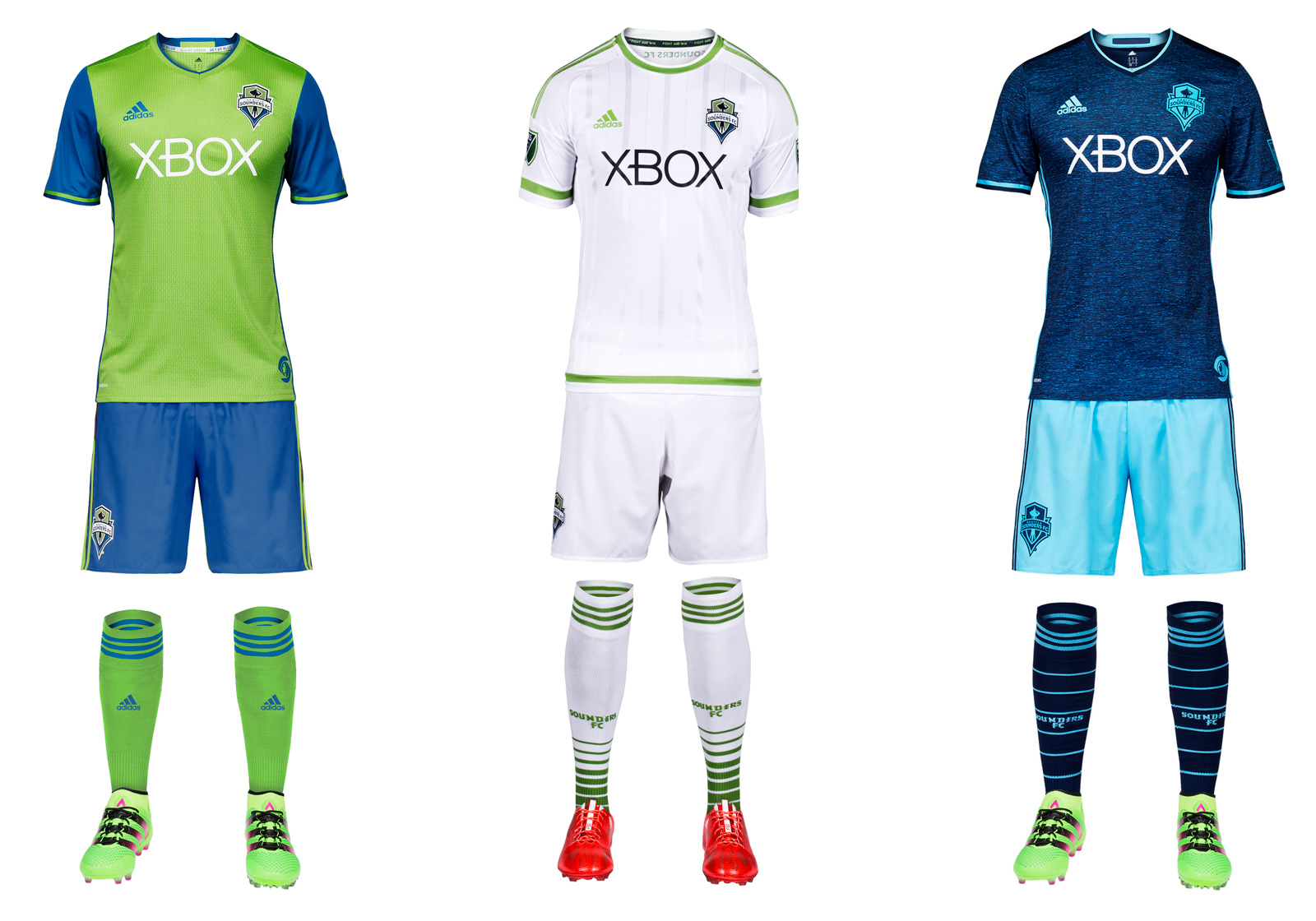 The only club to introduce two uniforms this year, the Sounders will sport a slightly adjusted version of their iconic rave green primary and a new third kit designed to reflect the colors of Puget Sound. The home set now features blue sleeves and an 'SS' pattern on the body of the jersey. Seattle may continue the odd tradition of swapping the shorts and socks when wearing the primary on the road. It returns to cyan (and shades of darker blue) on the new third kit, which has a nice Cascadia feel. Hopefully, its arrival means the Sounders will wear the silly all-white secondary as infrequently as possible.