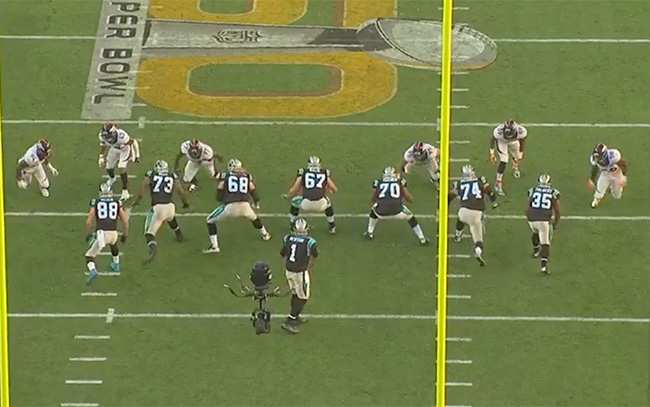 On the first Von Miller strip sack (which Denver recovered in the end zone), Mike Remmers (74) is preoccupied with Danny Trevathan, lined up directly in front of him. Meanwhile, Miller is lined up so wide to the right that Mike Tolbert (35) doesn't bother chipping him, and Remmers reacts to him too late.