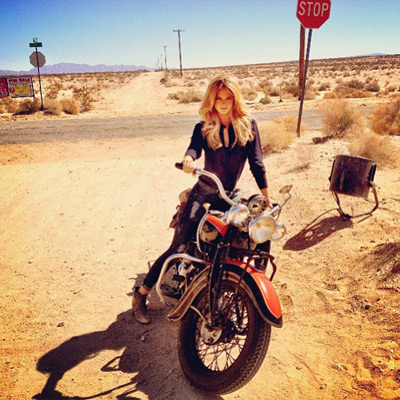 @katelynnebock: How I rolled into work today. I am a badass desert cowboy motorcycle gangster. (Side note – ignore the fan in the background)