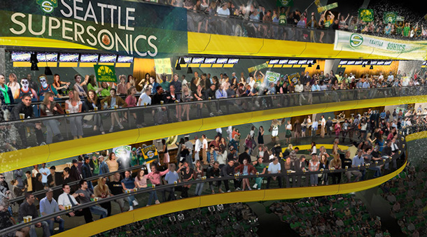 A rendering of the court view for a new Sonics arena. (SonicsArena.com