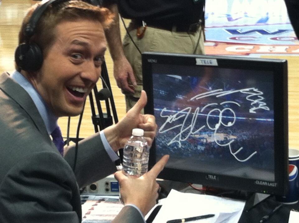 ESPN's Sean Farnham does some pregame prep.