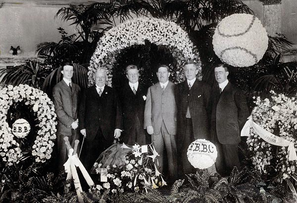 At the Ebbets Field opening on April 9, 1913 are (left to right) Charles H. Ebbets, Jr., Stephen McKeever, Charles H. Ebbets, Edward McKeever, Henry Medicus and Clarence Van Buskirk, the architect. (Sporting News Archives/Icon SMI)