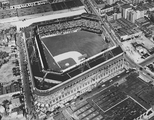 An aerial shot of Ebbets Field in July 1954. (AP)