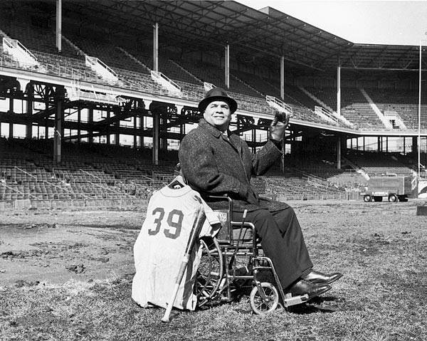 Roy Campanella was left paralyzed by a car accident and didn't move west with the team, but he did make it to the demolition of Ebbets Field in Feb. 1960. (Photo by Bruce Bennett Studios/Getty Images)