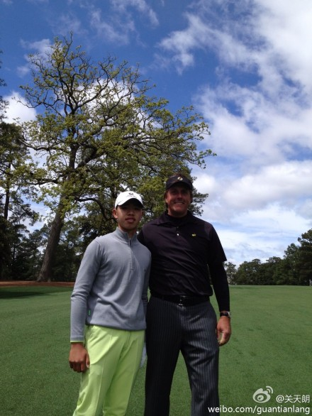 "9. And he loves posting pictures. Here's one with Phil Mickelson, who is ""infected"" with ""positive energy"" and who has ""constantly encouraged me to strengthen my confidence."""