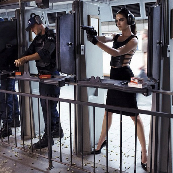 @hilaryhrhoda: Target practice in some vintage #Versace at gun club in LA for Vogue Italia shoot