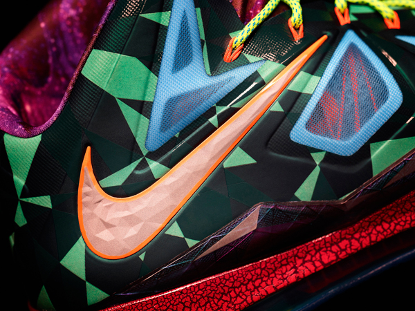 "A detail look at the ""MVP"" version of the LeBron X. (Nike)"