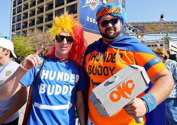 Thunder fans, Game 2 versus Rockets. (Layne Murdoch/NBAE via Getty Images)