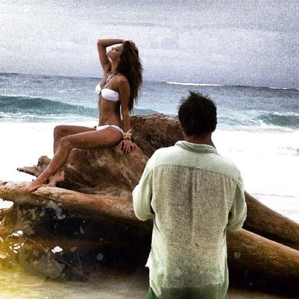 @ninaagdal: Bts @antoineverglas @donnafumoso @sauvageswimwear #mexico #tulum