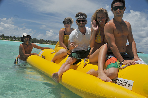 Brooklyn Decker and the crew take a banana boat cruise to a sand bar in the Maldives during a shoot for the 2010 issue.