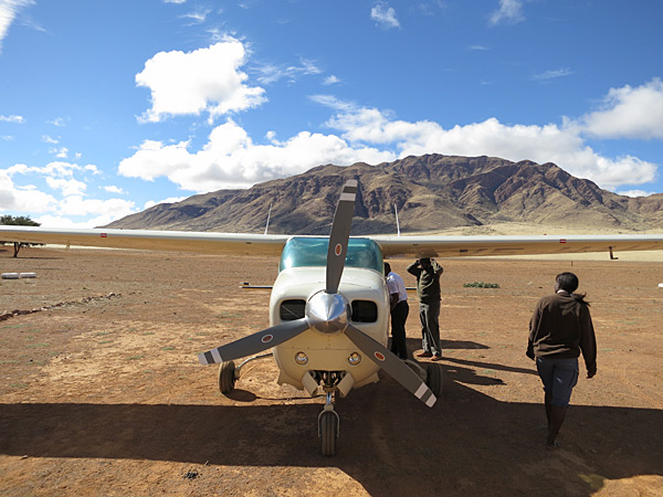 The six-seater Cessna planes used in Namibia for the 2013 issue.