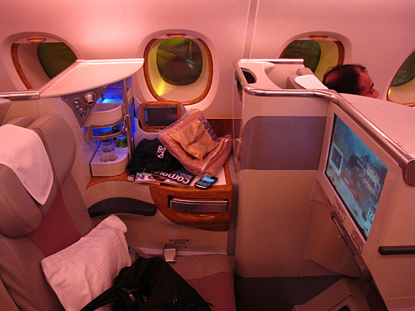 The business class pods on Emirates Airline during the trip to Seychelles for the 2012 issue.