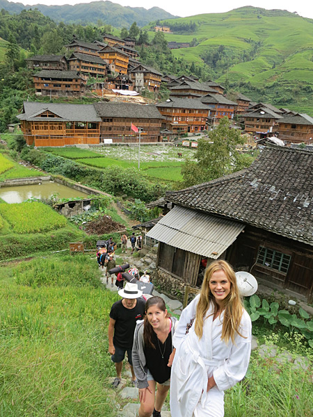 Hiking up Dragons Backbone rice terraces in China with Anne V, 2013 issue.