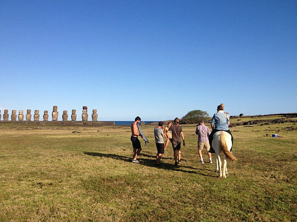 MJ Day directs a shoot by horseback in Easter Island, 2013 issue.