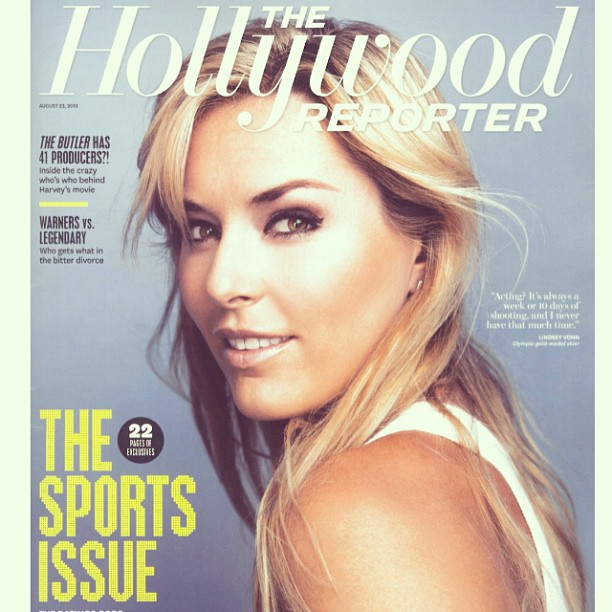 @lindseyvonn: Cool cover just came out. Guess who did my hair & makeup?... ME!! Article is here-http://m.hollywoodreporter.com/news/yasiel-puig-kevin-durant-lindsey-605083?page=3