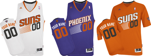 A close-up looks at the Suns' three new jersey designs. (ShopSuns.com)