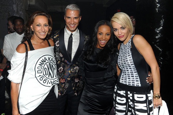 Designer Donna Karan, Jay Manuel, Jessica White and Rita Ora attend the #DKNY25 Birthday Bash. (Photo by Jamie McCarthy/Getty Images for DKNY)