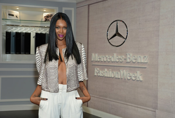 Jessica White attends the Mercedes-Benz Star Lounge. (Photo by Mike Coppola/Getty Images for Mercedes-Benz)