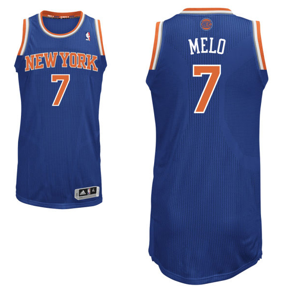 "Carmelo Anthony's road blue New York Knicks jersey with ""Melo"" on the back. (NBA.com)"