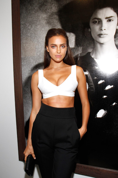 Irina Shayk attends the Peter Lindbergh exhibition at Vladimir Restoin Roitfeld Gallery.   (Photo by Mireya Acierto/Getty Images)
