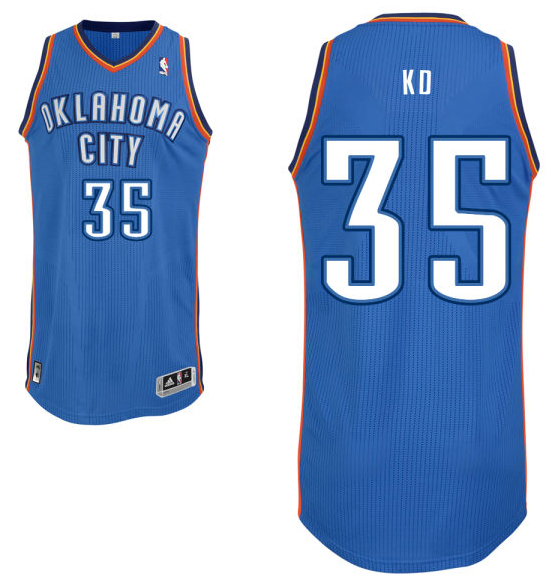 "Kevin Durant's road blue Oklahoma City Thunder nickname jersey with ""KD"" on the back. (NBA.com)"