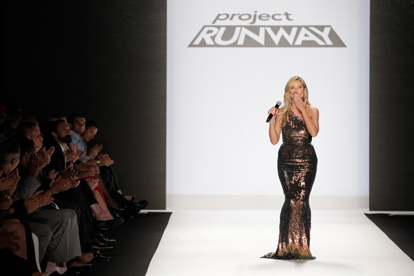 Heidi Klum attends the Project Runway show during Spring 2014 Mercedes-Benz Fashion Week at The Theatre at Lincoln Center.  (Photo by Thomas Concordia/WireImage)