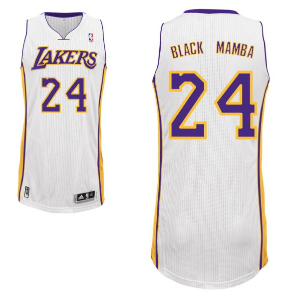 "Kobe Bryant's home white Los Angeles Lakers nickname jersey with ""Black Mamba"" on the back. (NBA.com)"