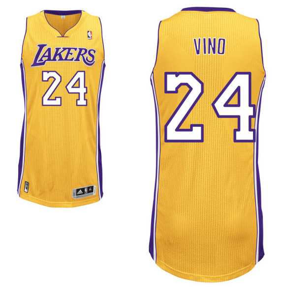 "Kobe Bryant's road yellow Los Angeles Lakers nickname jersey with ""Vino"" on the back. (NBA.com)"