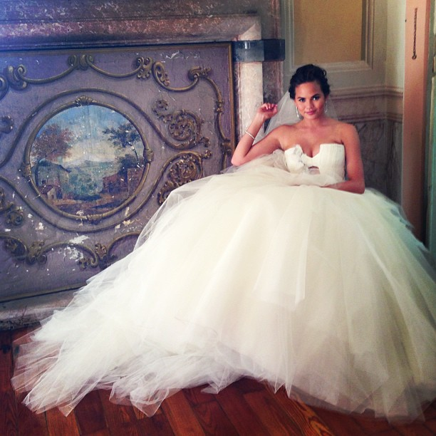 Chrissy in her wedding dress.